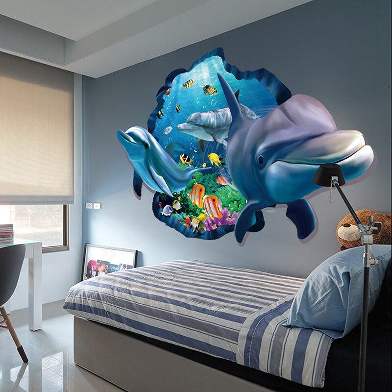 PVC Dolfijnen 3d Solid Muurstickers Leuke Beeld Huis Wanddecoratie ...