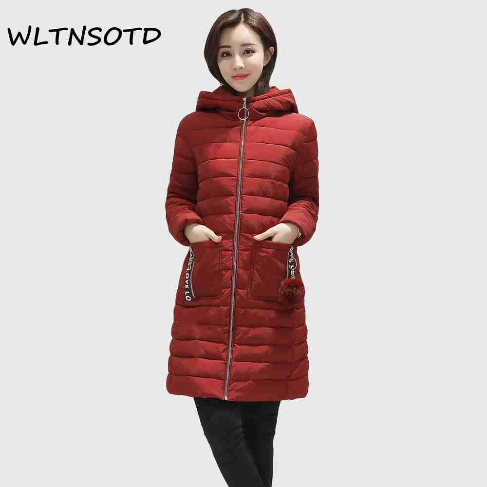 2017 winter new cotton coat women large size thick long Hooded jacket Female fashion solid Hairball warm Parkas