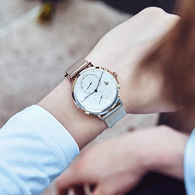 Image 4 - Bestdon Bauhaus Дизайнерские мужские часы Топ люксовый бренд нержавеющая сталь большой циферблат кварцевые наручные часы модные простые ультра тонкие часы-in Кварцевые часы from Ручные часы on AliExpress