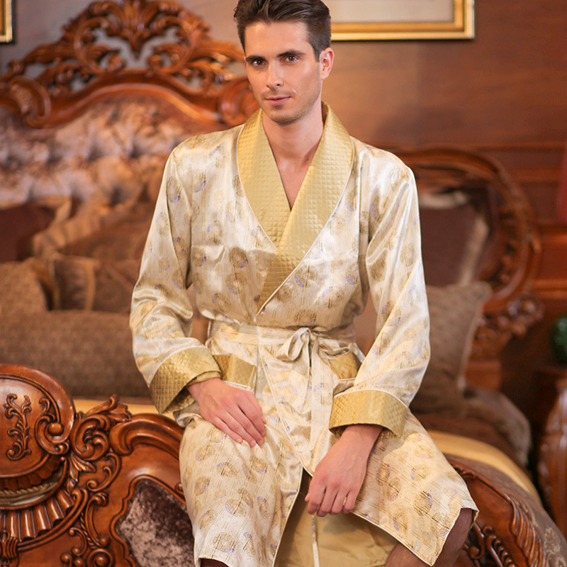 High Quality Autumn Men Silk Long-Sleeve Kimono Sleepwear 100% Silk Male Robe Bilayer Thickened Silk Robe Loungewear Clothes