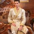 Homens De Seda de alta Qualidade Outono-Manga Longa Kimono Sleepwear 100% Roupas de Seda Masculino Robe de Seda Robe Loungewear Engrossado Bicamada
