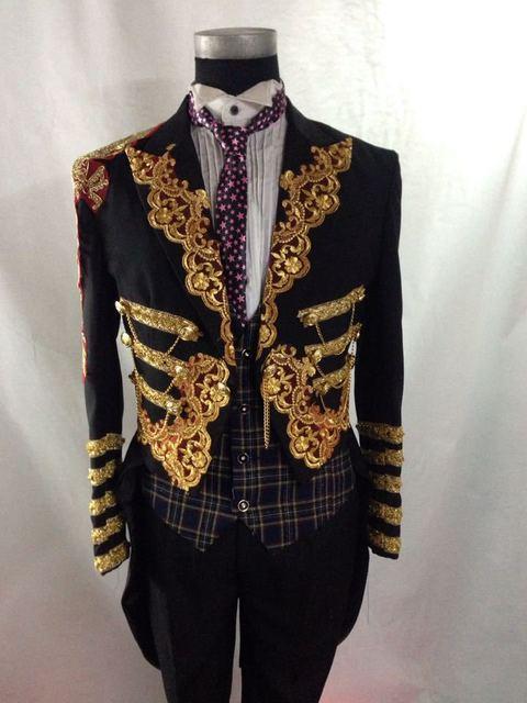 Envío libre para hombre negro oro bordado swallowtail tuxedo jacket evento/etapa performacne/esto es sólo la chaqueta