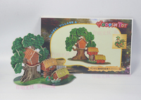 Modelo de madeira 3D puzzle brinquedo DIY presente do bebê mão de obra montar jogo aldeia global casa na árvore de madeira woodcraft construction kit 1 conjunto