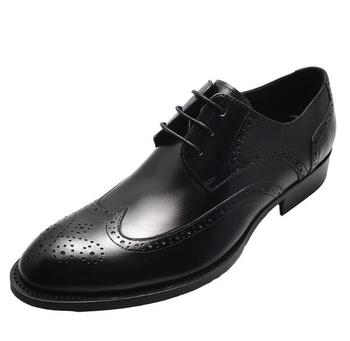 British Style Genuine leather Brogue Formal Dress Shoes Black Carved Wedding Party Shoes for men
