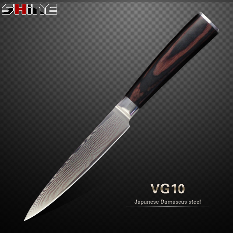 High-grade damascus knife 5 inch utility knife XYJ Japanese VG10 Damascus steel color wood handle kitchen knife cooking tools