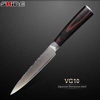 SHINE STORE Damascus Knife 5 Inch Utility Knife Japanese VG10 Damascus Steel Core Wood Handle 2015