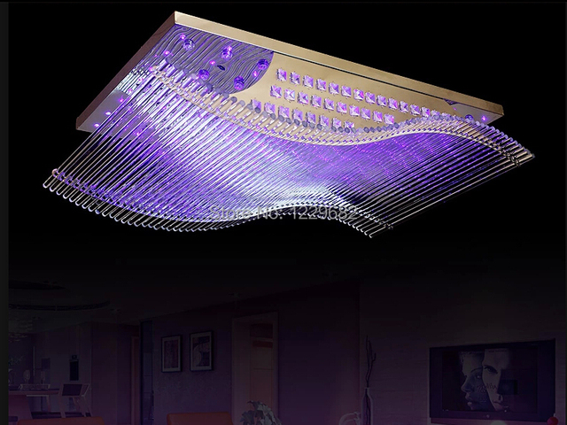 Plafoniera Led Rgb : Modern crystal chandelier led color change with remote control organ