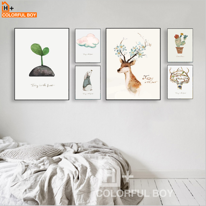 COLORFULBOY Cactus Deer Bud Watercolor Canvas Painting Pop Art Posters And Prints Canvas Art Wall Pictures For Living Room Decor