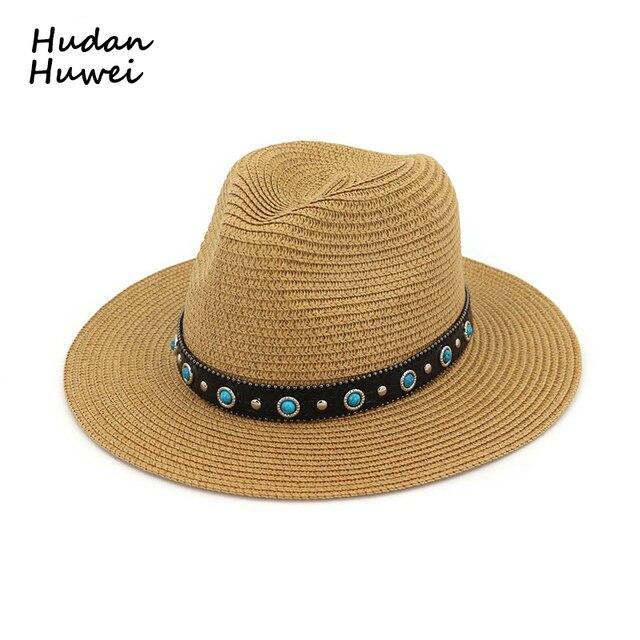 887ef3a2001e6 Popular Summer Paper Straw Jazz Hat Women Flat Brim Jazz Fedoras with Rivet  Belt Sun Cap Female Lady Beach Panama Hat