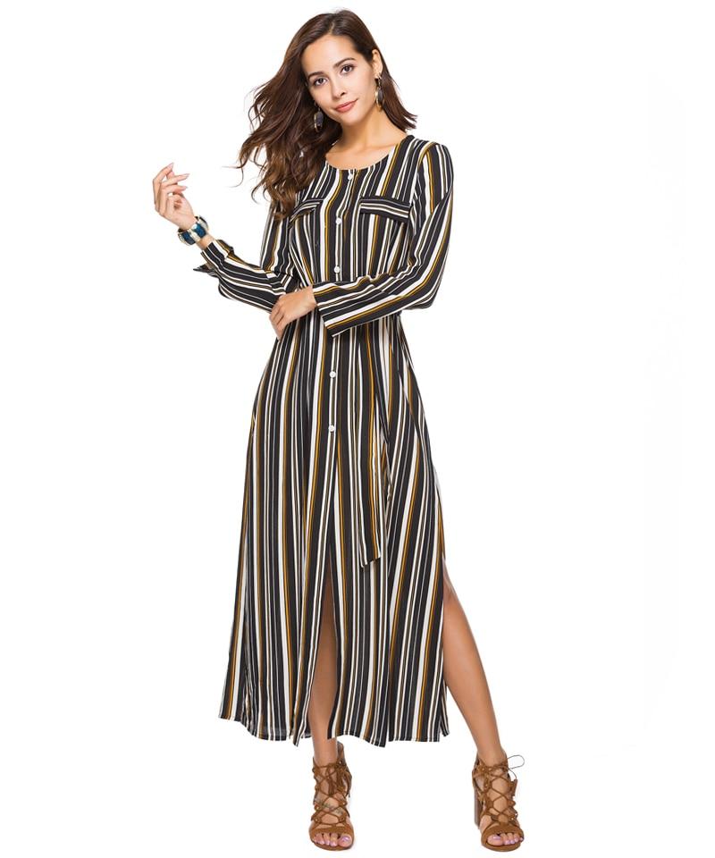 Women Summer Boho Maxi Dresses Large Size Elegant Casual Bohemian Long Stripe Dress Aline Plus Size 2018 Spring 7