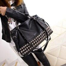 Rivetผู้หญิงของกระเป๋าหนังแท้ฤดูใบไม้ร่วงและฤดูหนาว2015 cowhide messengerกระเป๋าไหล่กระเป๋าถือถุงใหญ่