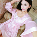 New summer lady pajamas thin section robe sexy bathrobe long - sleeved spring and autumn silk bathrobe home service