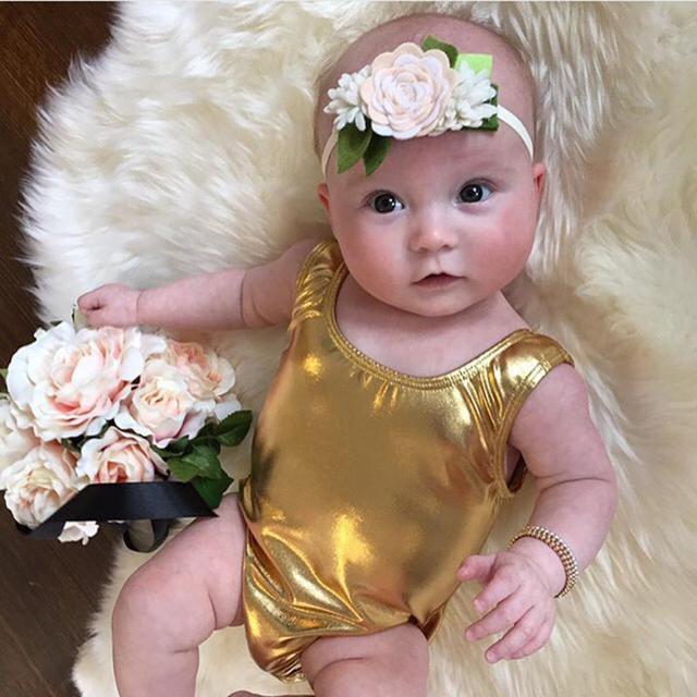 Fashion Gold Baby Romper Summer Newborn Girl Overall Infant Big ...