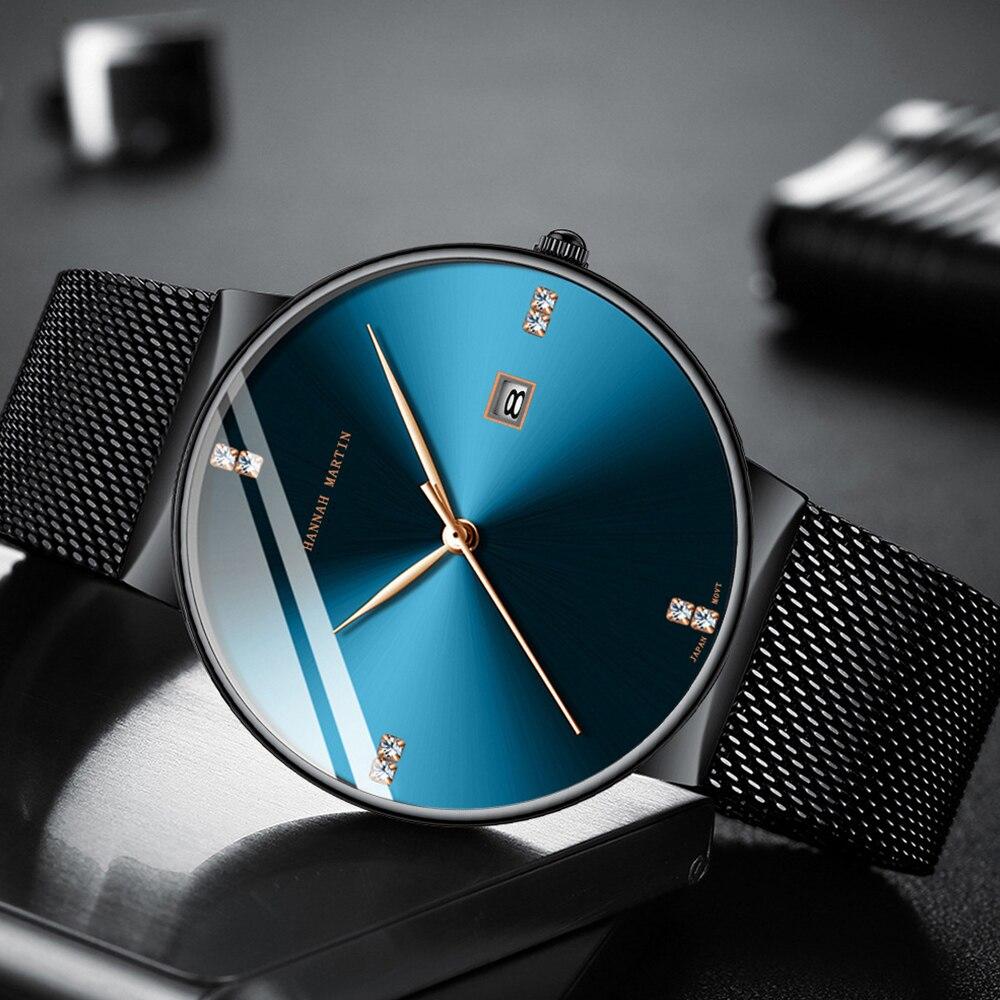 2019 Hannah Martin Simple Men Watch Fashion Quartz Clock Steel Mesh Belt Mens Watches Top Brand Luxury Business Wrist Watch