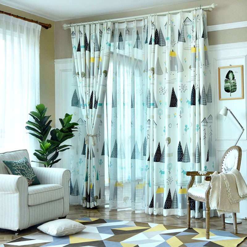 Cartoon Trees Curtains For Kids Boys Bedroom Blinds Linen Sheer Window  Tulle Blue Drapes Panels Short Curtain Fabric Custom Size In Curtains From  Home ...