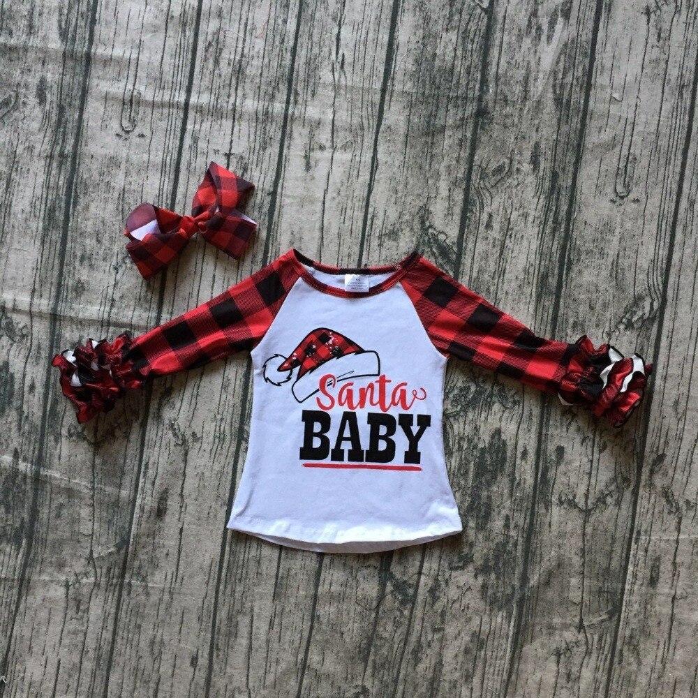 Navidad otoño/invierno niñas niños ropa boutique algodón icing camisetas de manga raglans Santa baby plaid arco partido