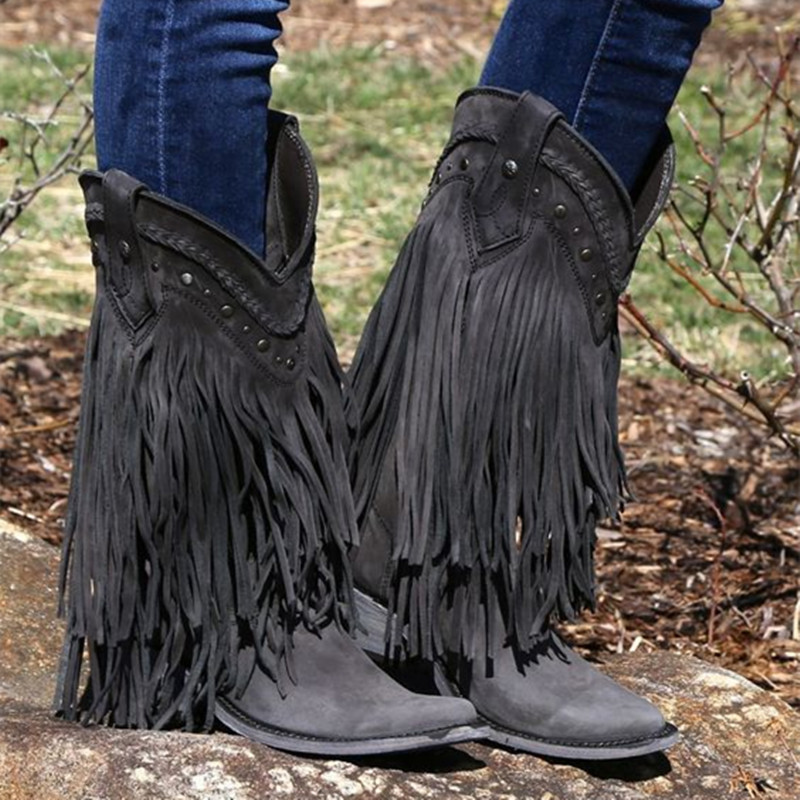 Women's Liberty Vegas Exotic Leather Cowboy Boots Western Knee High Boots Handmade Fringed Locomotive Boots Hollow Flat Booties