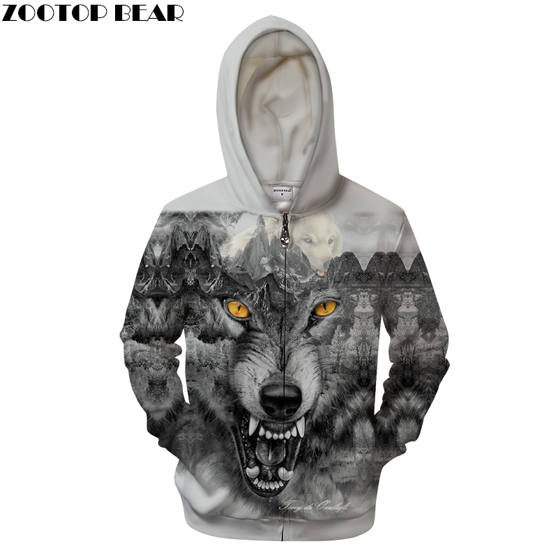 Winter Wolf Hoodies Men 3D Sweatshirt Zipper Hoody Anime Tracksuit Zip Coat Casual Jacket Hooded Pullover Dropship ZOOTOPBEAR