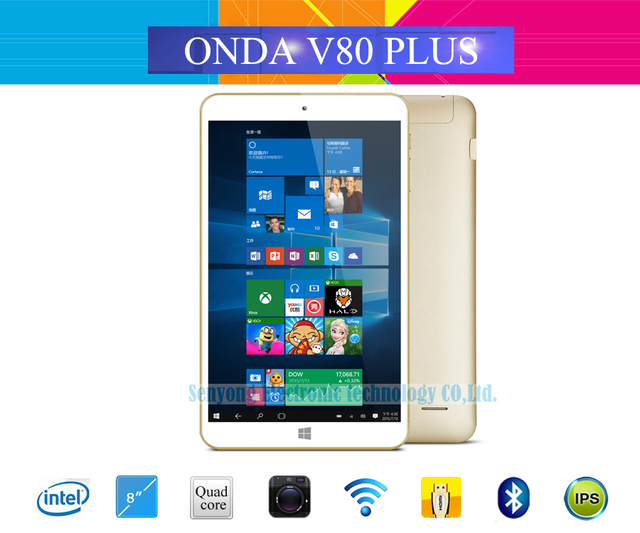 "Original Onda V80 Plus Windows 10 + Android 5.1 Dual OS Tablet PC 8.0"" IPS Intel X5-Z8300 Quad Core 2GB/32GB Dual Camera HDMI"