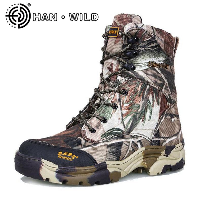 Jungle Camouflage Men Tactical Combat Boots Waterproof Snow Boots Wool Men Spring/Winter Ankle Boots Military Combat Shoes