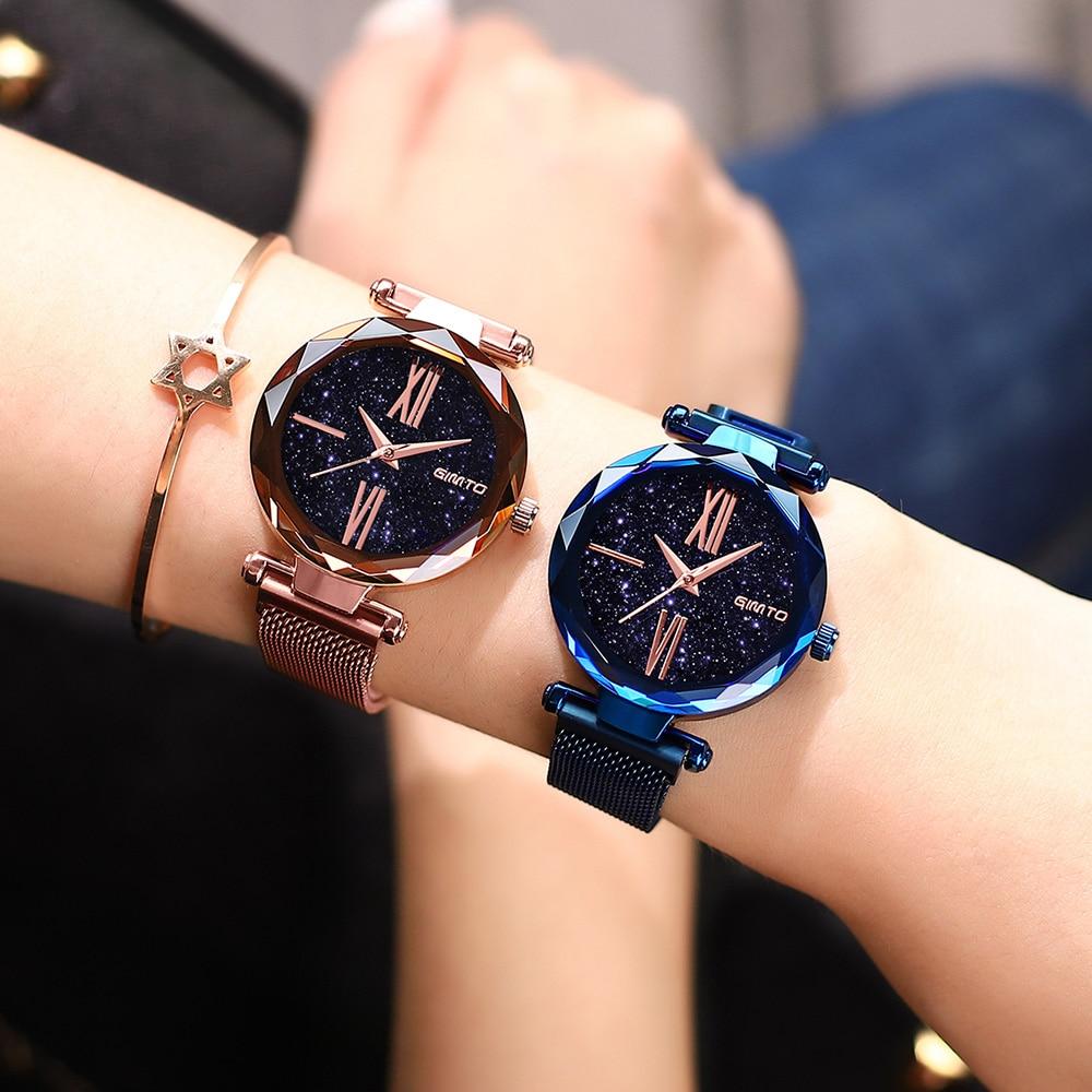 2018 Rose Gold Luxury Brand Women Watches Starry Sky Creative Quartz Bracelet Ladies Casual Wrist Watch Waterproof Female Clock