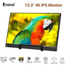 """13.3 """"4 K נייד צג FHD 3840x2160 IPS סוג C LCD צג עם HDMI קלט סוג  C מובנה רמקול תצוגת משחקי צג"""