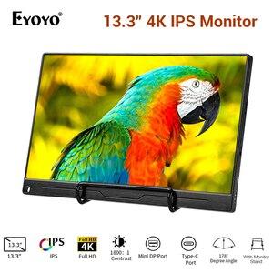 """Image 1 - 13.3 """"4 K taşınabilir monitör FHD 3840x2160 IPS tipi C LCD HDMI monitör giriş tipi c dahili hoparlör ekran oyun monitörü"""
