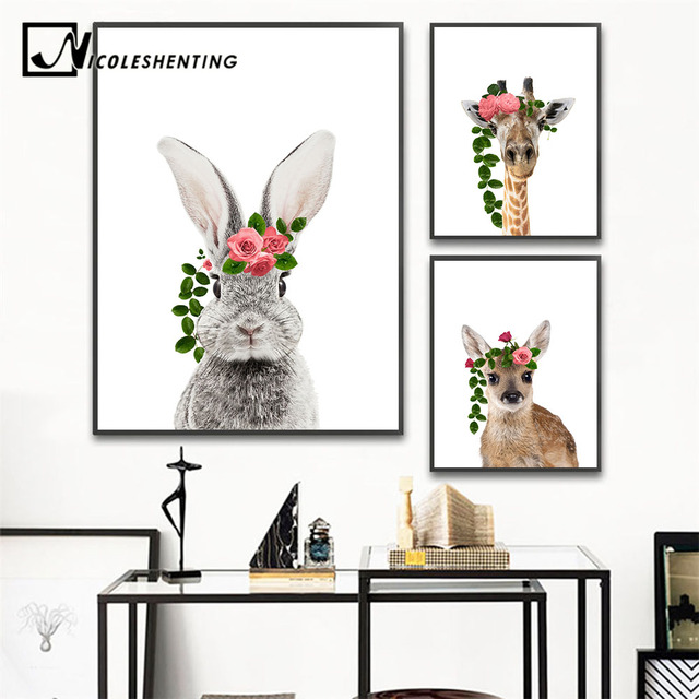 Baby Animal Wall Art Canvas Painting Rabbit Deer Flower Crown Poster Nursery Prints Nordic Kids Decoration
