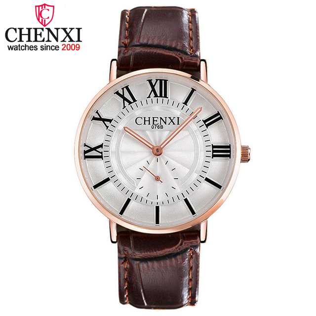 CHENXI Top Brand Luxury Lovers' Couple Watches Women Men Leather Strap Waterproo