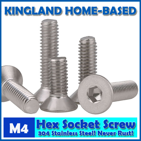 M4 DIN7991 Hexagon Hex Socket Countersunk Flat Head Cap Screws 304 Stainless Steel DIY Home Maintain Matel Working m4 din7991 hexagon hex socket countersunk flat head cap screws 304 stainless steel diy home maintain matel working
