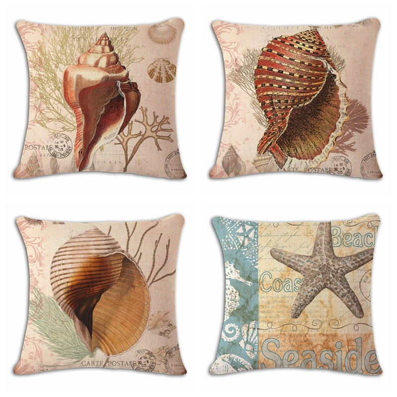Retro hand-painted conch shells Mediterranean pillow pillows cushion for leaning on of factory direct sales Droping