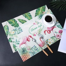Flamingo PVC Placemat Insulation Mat Wedding Birthday Party DIY Decorations Tropical Tableware Hawaiian Decor
