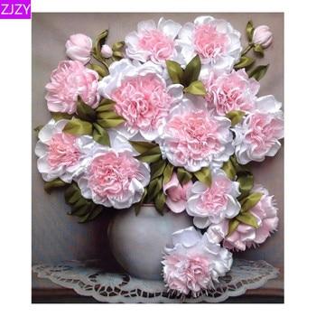 ZIZY redondo Dirll 5D DIY diamante bordado peonía Rosa florero con diamante pintado punto de cruz mosaico decorativo de diamantes de imitación para regalo LY587