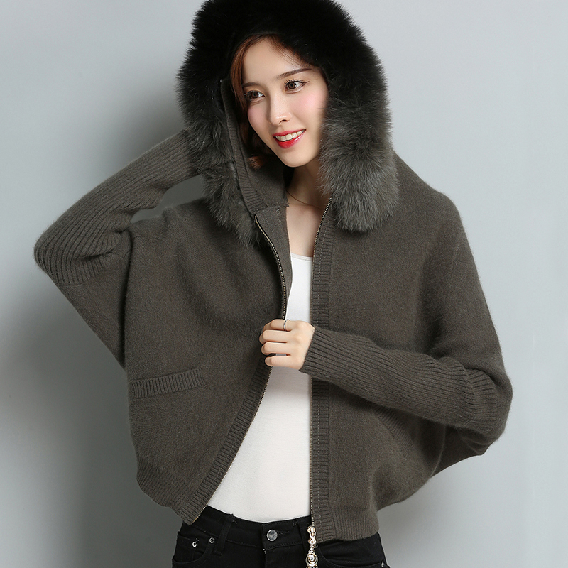 Luxury Europe Women Brown Batwing Hooded Cardigan Really Fox Fur High Quality Sweater Winter Warm Mujer