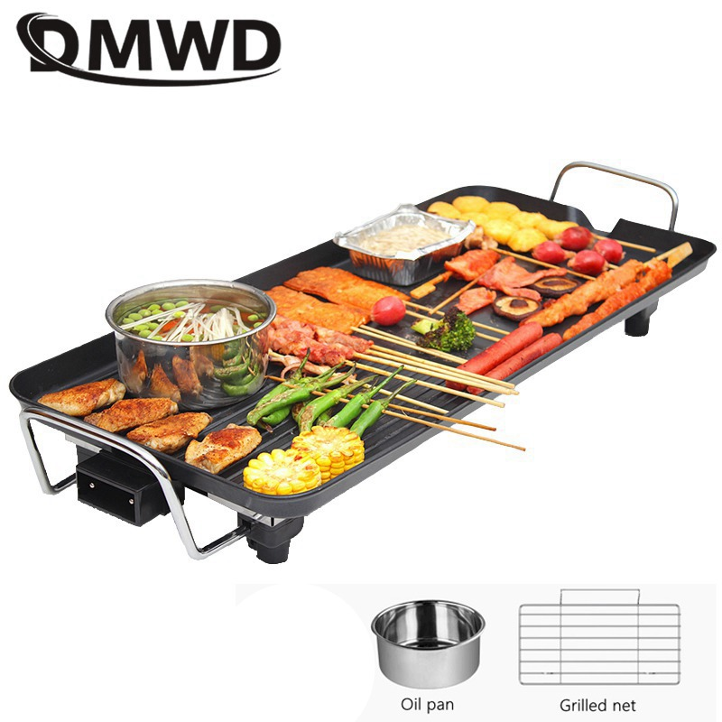 DMWD Domestic electric roasting oven Electric baking pan Korean barbecue machine Teppanyaki smoke free non stick pot roast|korean barbecue pan|oven roasting pan|electric teppanyaki - title=
