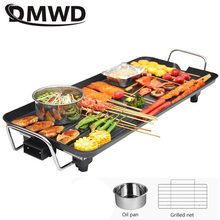 DMWD Domestic electric roasting oven Electric baking pan Korean barbecue machine Teppanyaki smoke-free non stick pot roast(China)