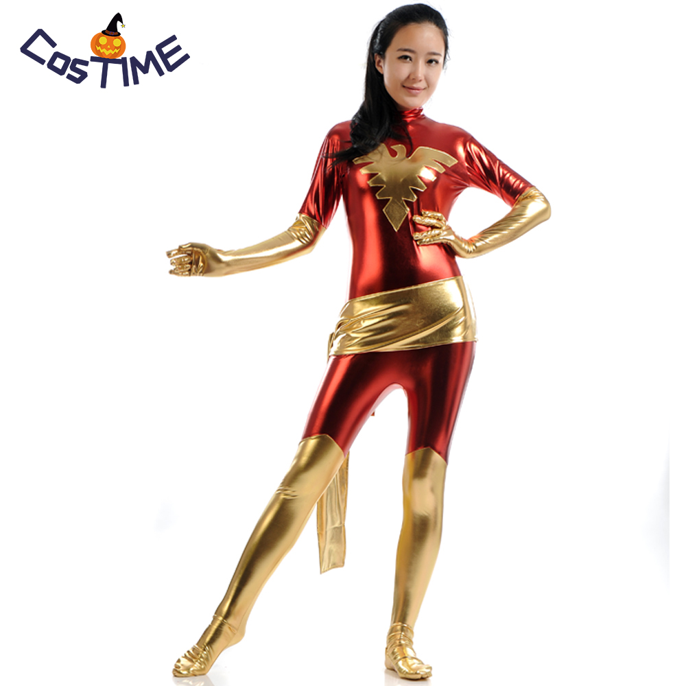 Adult X-men Costume Dark Phoenix Shiny Metallic Zentai Marvel Girl Catsuit Superhero Costume Halloween Fancy Dress for Women