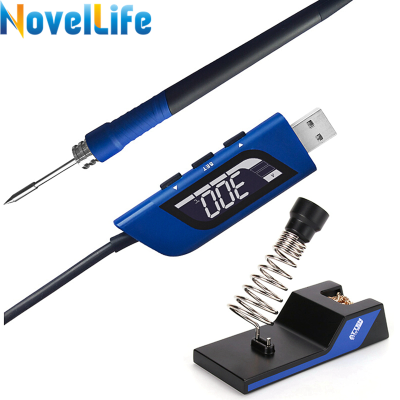 10W 5V USB Soldering Iron Adjustable Temperature Portable Electric Solder Station B Tip Auto Sleep Digital