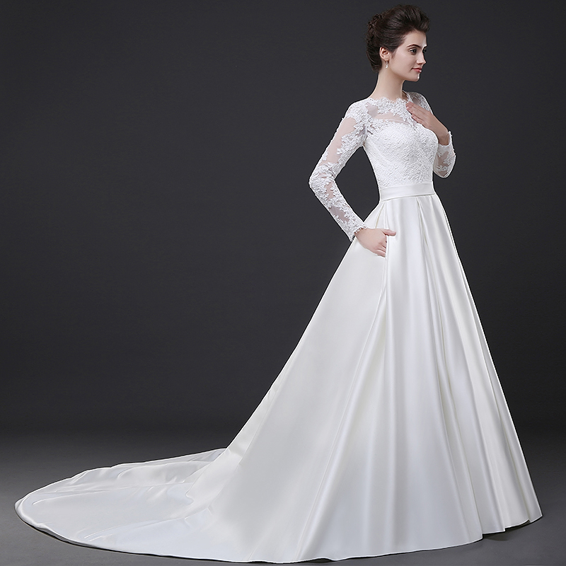 White Lace Long Sleeves Wedding Dress Satin Skirt A Line Chapel Train Women Bridal Up Closure In Dresses From Weddings Events On