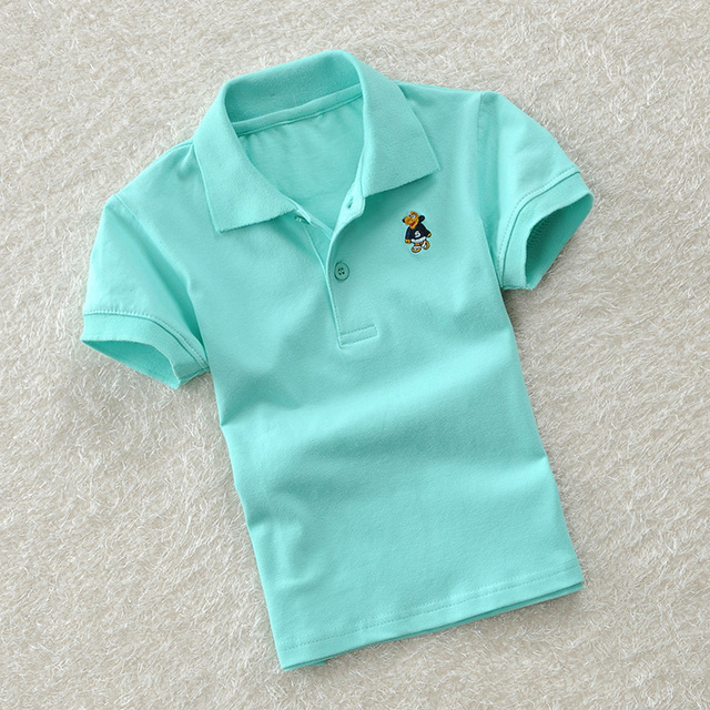 Children's clothing summer 100% cotton t-shirt solid color child short-sleeve T-shirt child male child stripe polo shirt
