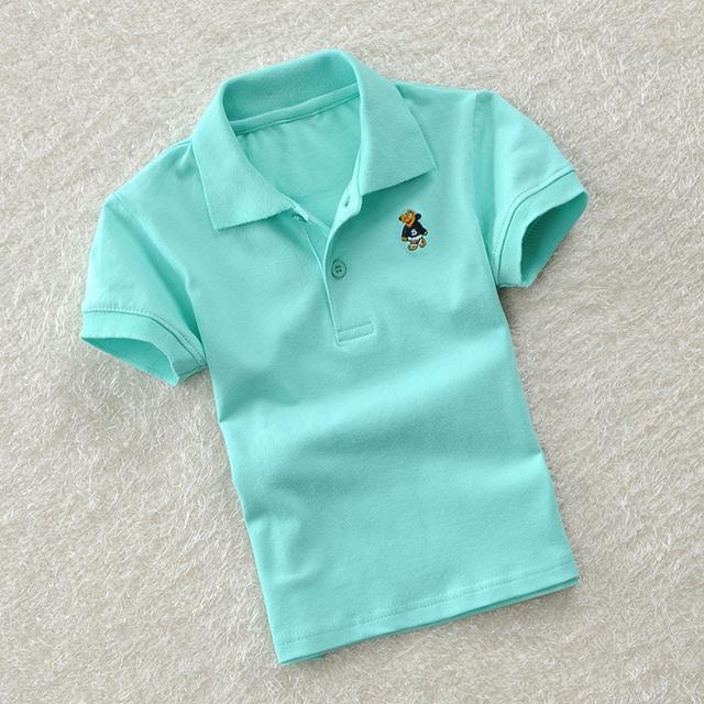Infantil roupas de verão 100% t-shirt de algodão de cor sólida criança curto-manga comprida T-shirt criança criança do sexo masculino camisa polo tarja