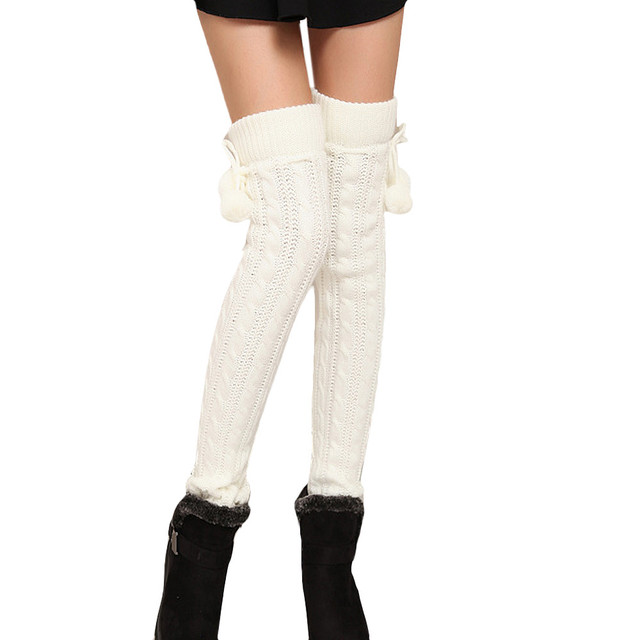 Acrylic Cable Knit Leg Warmer Long stocking/leggings