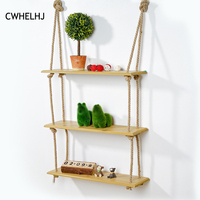 1-3 Layers Retro Wall Decorative Storage Rack board books Figurines Display Racks Wood wall Hanging Storage Shelf Decoration