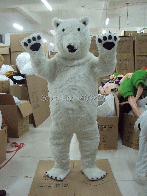 Vendita diretta della fabbrica Orso Polare Costume Della Mascotte Formato Adulto di Orso Polare Costume Della Mascotte Spedizione Gratuita