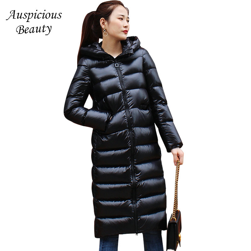 Long Down Jacker Women Winter Down Coat 90% White Duck Down Thicken Warm Hooded Zipper Coats Womens Black Slim Outwear SM646