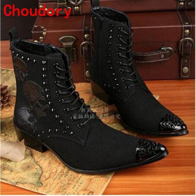 Choudory Occidental negro correa botas de vaquero para hombre ...