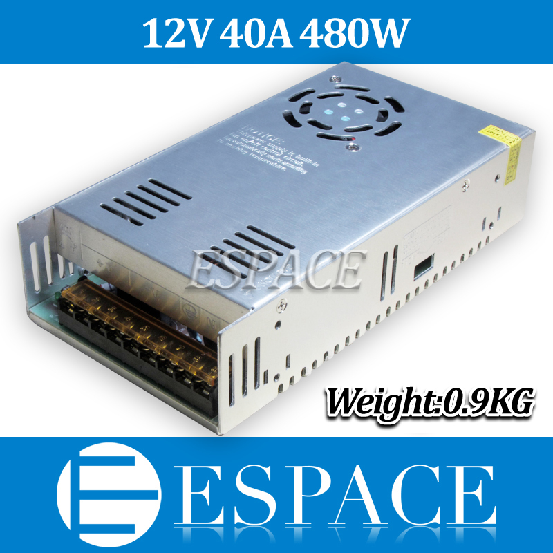 50piece/lot New Arrival 12V 40A 480W Switching Power Supply Driver for LED Strip AC 100-240V Input to DC 12V free fedex