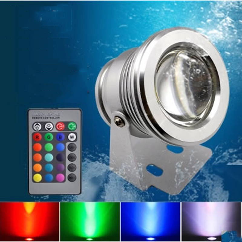 SPLEVISI 1X Remote Marine Boat Yacht Fishing Lamp Underwater Light RGB LED Floodlight Swimming Pool Pond Decoration Light