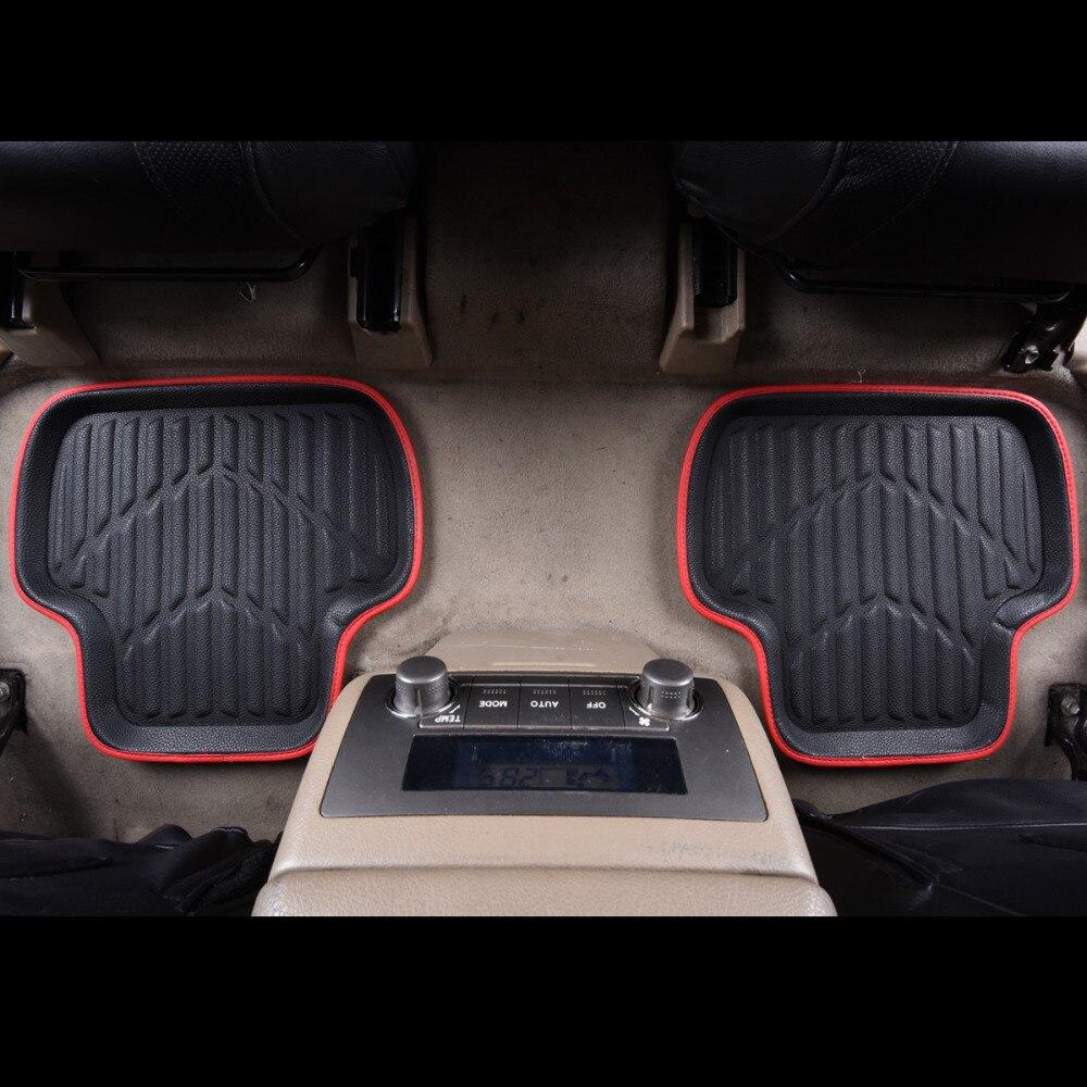 Car Pass 1 Piece Universal Car Floor Mat Black Red