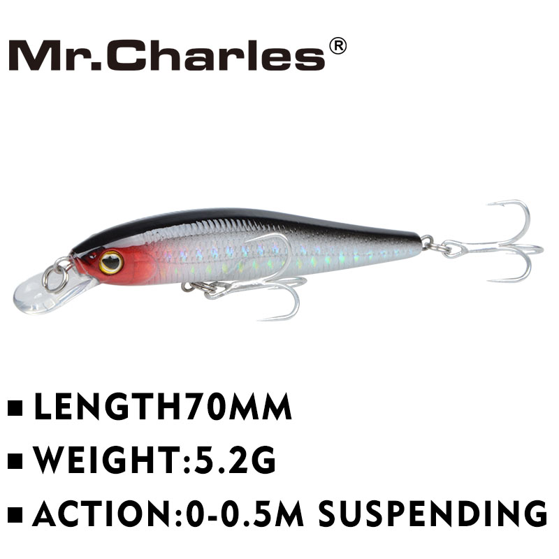 Mr.Charles CMC030 Fishing Lures 70mm/5.2g 0-0.5m Suspending Minnow Hard Aritificial Wobblers Crankbait Plastic Baits Pesca Isca